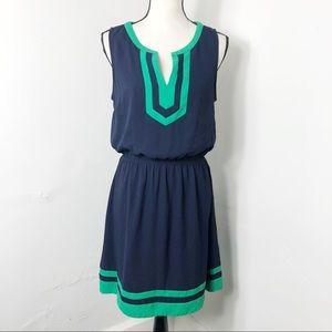 41 Hawthorn Blue Green Split Neck Sleeveless Dress